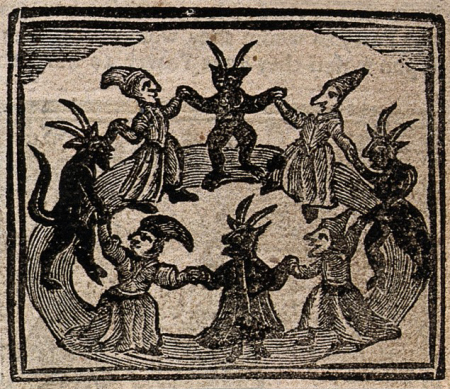 V0025811ETR Witchcraft: witches and devils dancing in a circle. Woodcut, Credit: Wellcome Library, London. Wellcome Images images@wellcome.ac.uk http://images.wellcome.ac.uk Witchcraft: witches and devils dancing in a circle. Woodcut, 1720. 1720 Published: - Copyrighted work available under Creative Commons by-nc 2.0 UK, see http://images.wellcome.ac.uk/indexplus/page/Prices.html